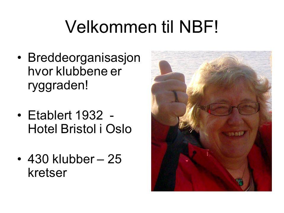 Velkommen til NBF! Breddeorganisasjon hvor klubbene er ryggraden! Etablert 1932 - Hotel Bristol i Oslo 430 klubber – 25 kretser