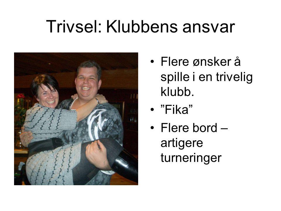 """Trivsel: Klubbens ansvar Flere ønsker å spille i en trivelig klubb. """"Fika"""" Flere bord – artigere turneringer"""