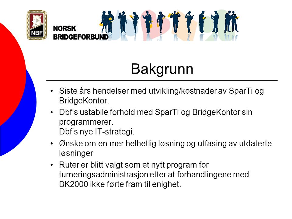 Visjon bridge.no (online) Visjonen er å utvikle et tilsvarende tidsriktig webbasert IT- struktur for NBF med en webbasert krets/klubb og medlemsadministrasjon innebygd i bridge.no.