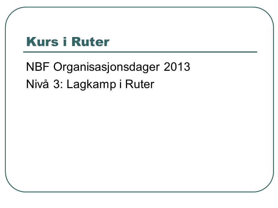 Kurs i Ruter NBF Organisasjonsdager 2013 Nivå 3: Lagkamp i Ruter