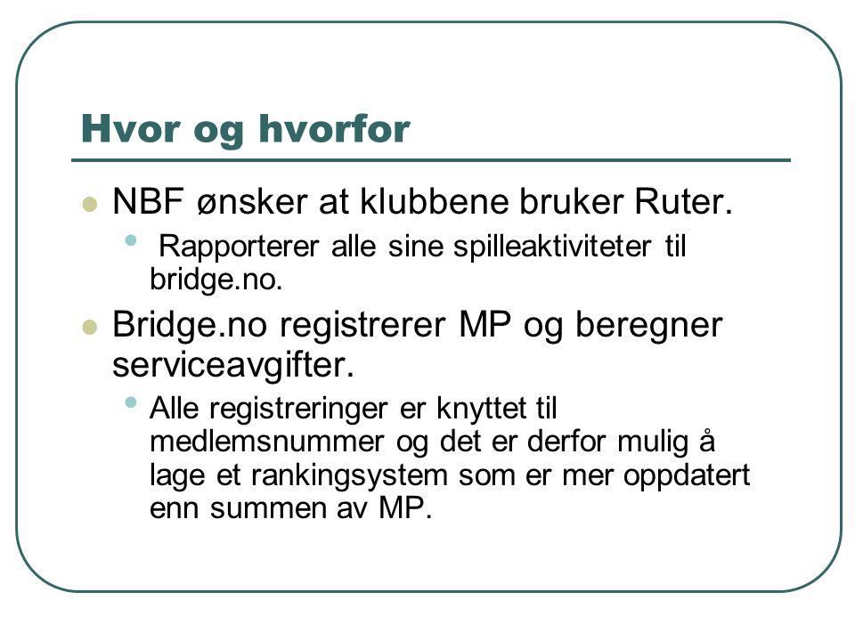 Hvor og hvorfor NBF ønsker at klubbene bruker Ruter. Rapporterer alle sine spilleaktiviteter til bridge.no. Bridge.no registrerer MP og beregner servi