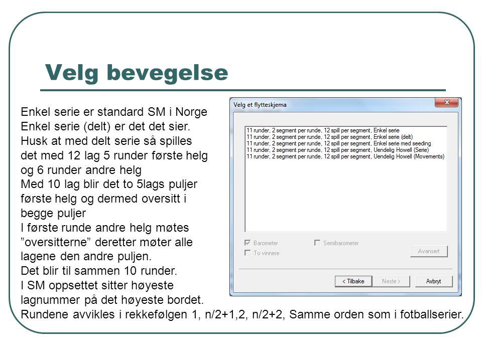 Velg bevegelse Enkel serie er standard SM i Norge Enkel serie (delt) er det det sier. Husk at med delt serie så spilles det med 12 lag 5 runder første