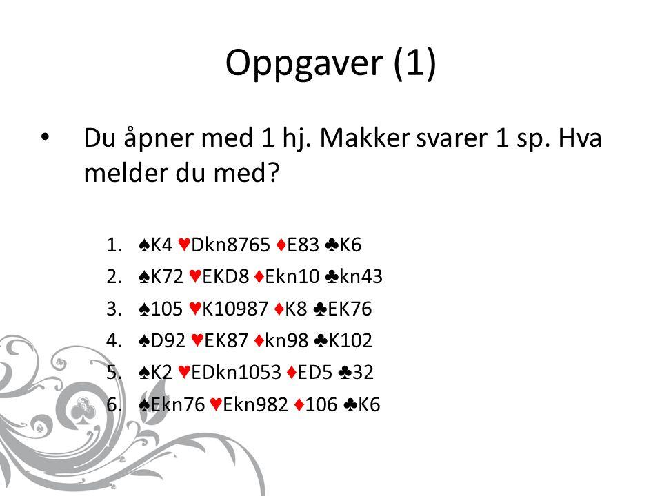 Oppgaver (1) Du åpner med 1 hj. Makker svarer 1 sp.