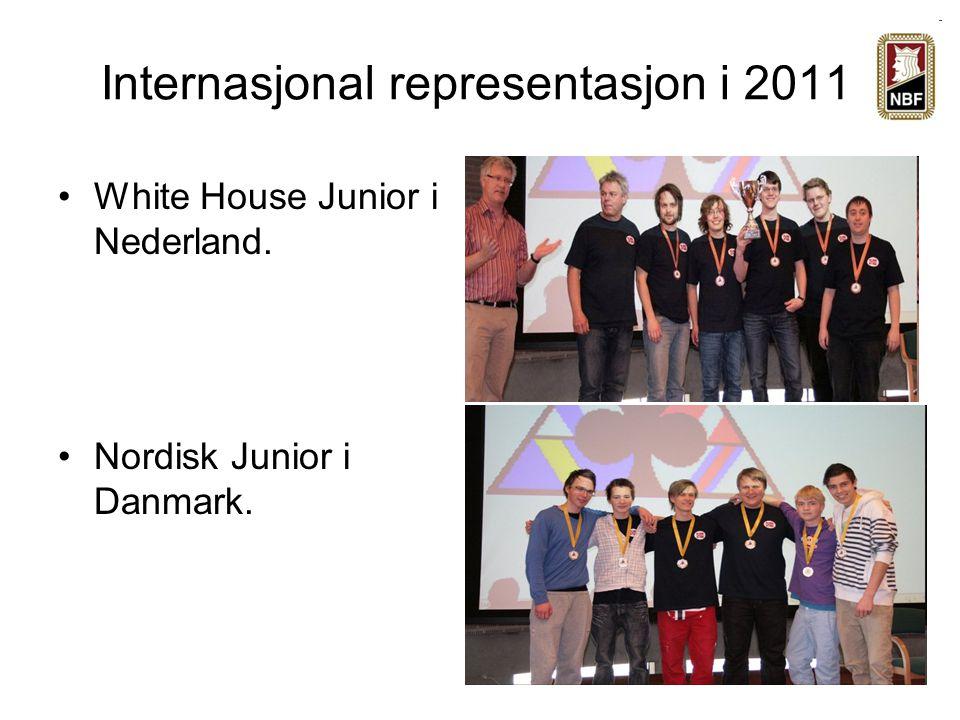 Internasjonal representasjon i 2011 White House Junior i Nederland. Nordisk Junior i Danmark.