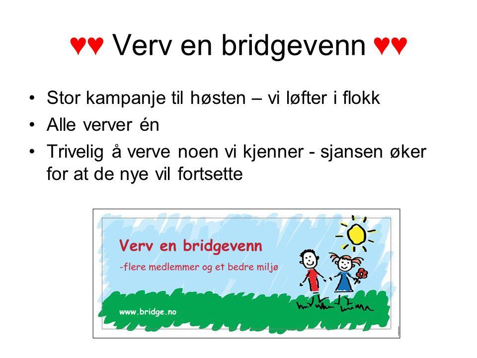 ♥♥ Verv en bridgevenn ♥♥ Stor kampanje til høsten – vi løfter i flokk Alle verver én Trivelig å verve noen vi kjenner - sjansen øker for at de nye vil fortsette
