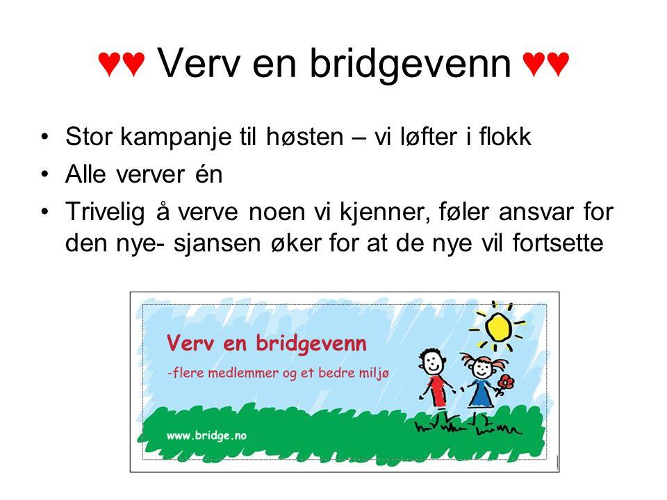 ♥♥ Verv en bridgevenn ♥♥ Stor kampanje til høsten – vi løfter i flokk Alle verver én Trivelig å verve noen vi kjenner, føler ansvar for den nye- sjansen øker for at de nye vil fortsette