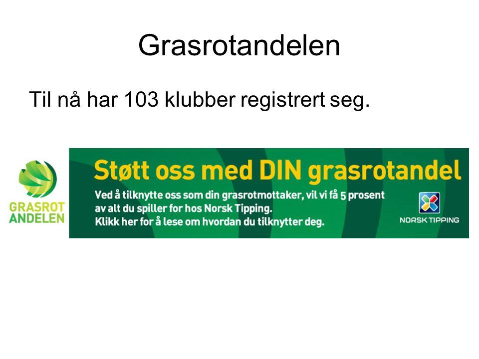 Grasrotandelen Til nå har 103 klubber registrert seg.