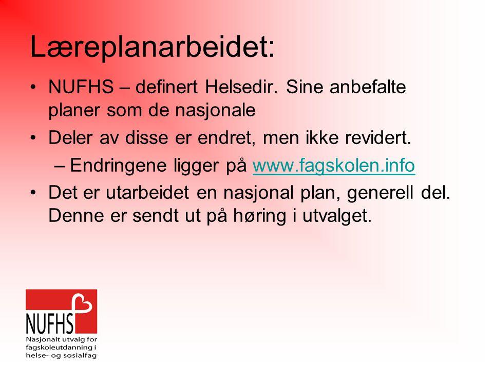 Læreplanarbeidet: NUFHS – definert Helsedir.