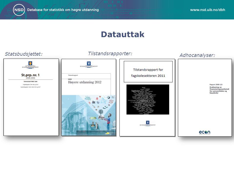 Datauttak Statsbudsjettet: Adhocanalyser: Tilstandsrapporter: