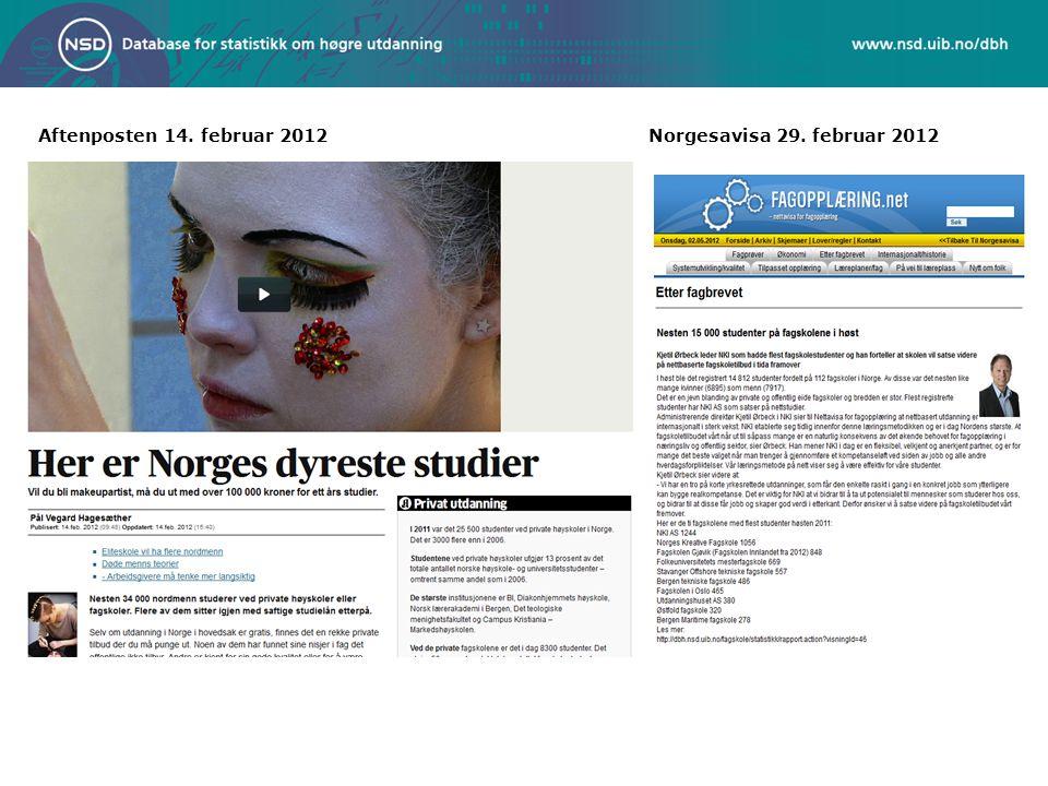 Aftenposten 14. februar 2012Norgesavisa 29. februar 2012