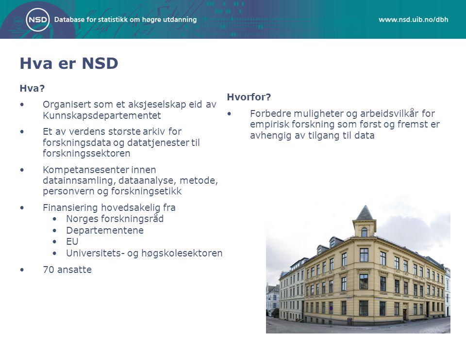 Hva er NSD Hva? Organisert som et aksjeselskap eid av Kunnskapsdepartementet Et av verdens største arkiv for forskningsdata og datatjenester til forsk