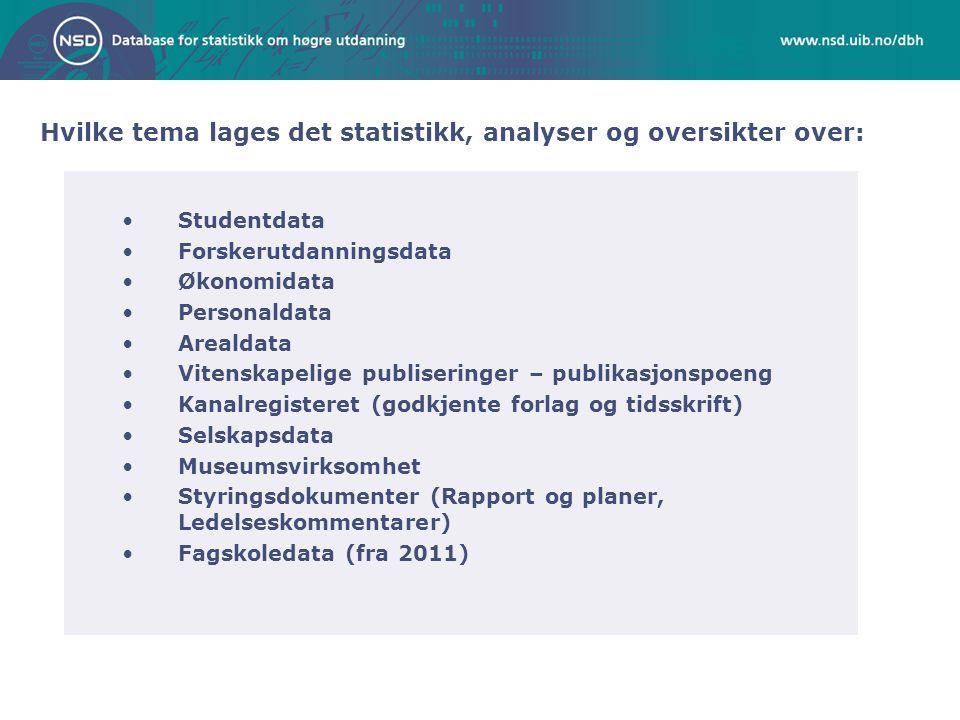 Hvilke tema lages det statistikk, analyser og oversikter over: Studentdata Forskerutdanningsdata Økonomidata Personaldata Arealdata Vitenskapelige pub
