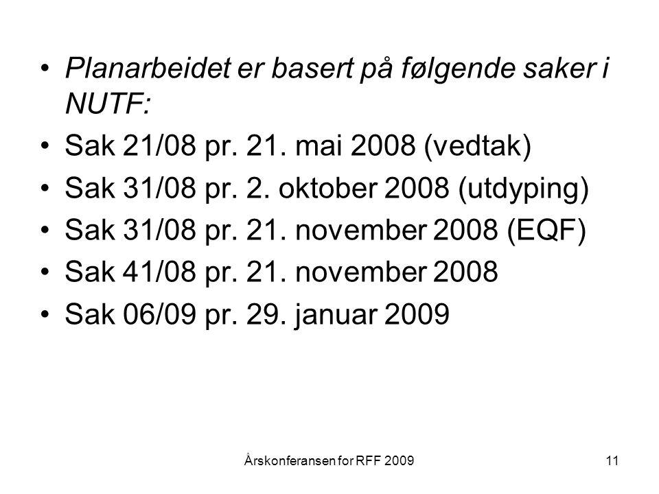 Planarbeidet er basert på følgende saker i NUTF: Sak 21/08 pr.