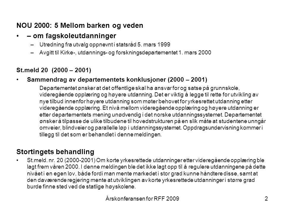 NOU 2000: 5 Mellom barken og veden – om fagskoleutdanninger –Utredning fra utvalg oppnevnt i statsråd 5.