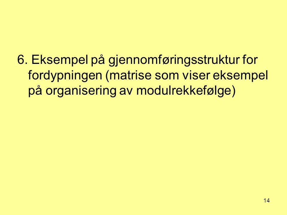 14 6. Eksempel på gjennomføringsstruktur for fordypningen (matrise som viser eksempel på organisering av modulrekkefølge)