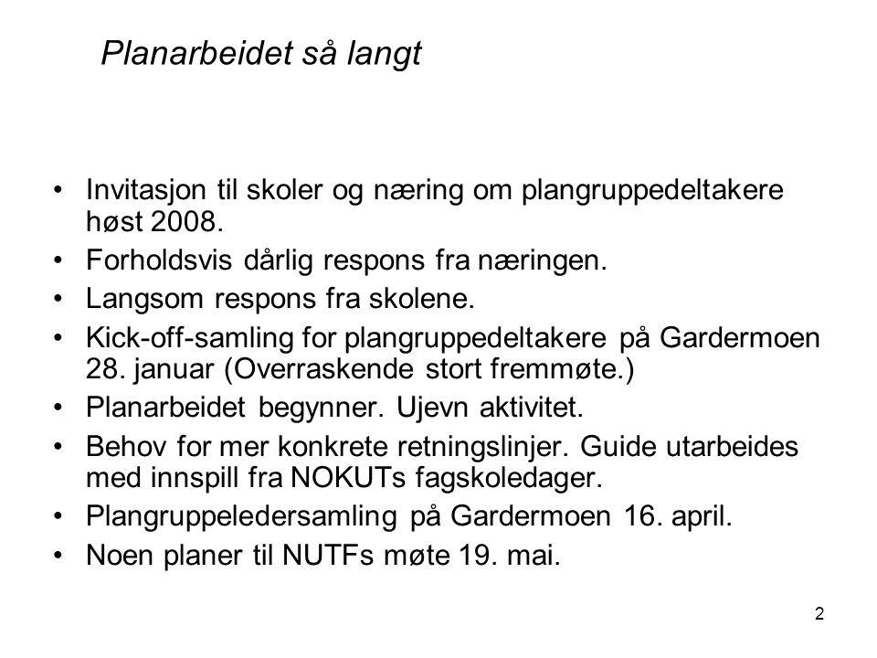 2 Invitasjon til skoler og næring om plangruppedeltakere høst 2008. Forholdsvis dårlig respons fra næringen. Langsom respons fra skolene. Kick-off-sam