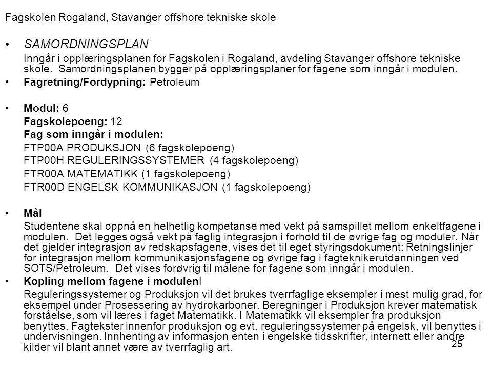 25 Fagskolen Rogaland, Stavanger offshore tekniske skole SAMORDNINGSPLAN Inngår i opplæringsplanen for Fagskolen i Rogaland, avdeling Stavanger offsho