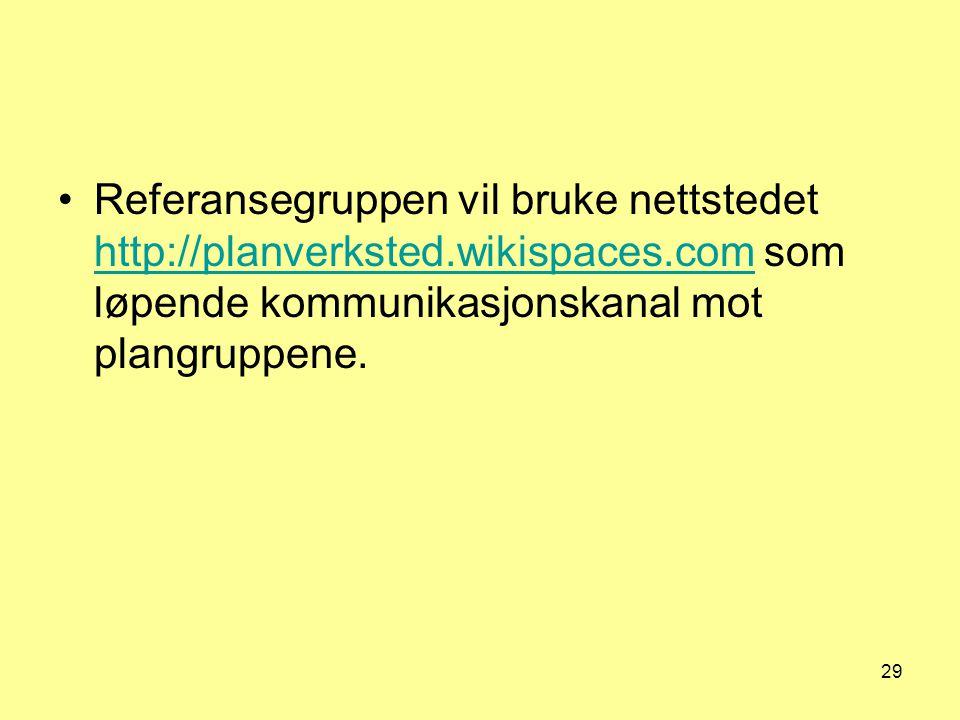 29 Referansegruppen vil bruke nettstedet http://planverksted.wikispaces.com som løpende kommunikasjonskanal mot plangruppene. http://planverksted.wiki