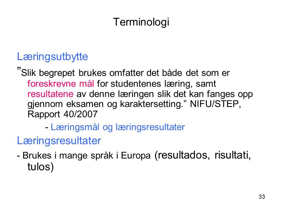 33 Terminologi Læringsutbytte Slik begrepet brukes omfatter det både det som er foreskrevne mål for studentenes læring, samt resultatene av denne læringen slik det kan fanges opp gjennom eksamen og karaktersetting. NIFU/STEP, Rapport 40/2007 - Læringsmål og læringsresultater Læringsresultater - Brukes i mange språk i Europa (resultados, risultati, tulos)