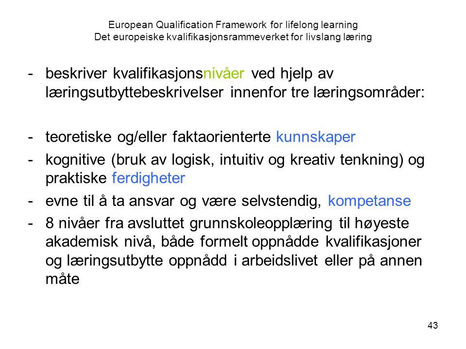 43 European Qualification Framework for lifelong learning Det europeiske kvalifikasjonsrammeverket for livslang læring -beskriver kvalifikasjonsnivåer