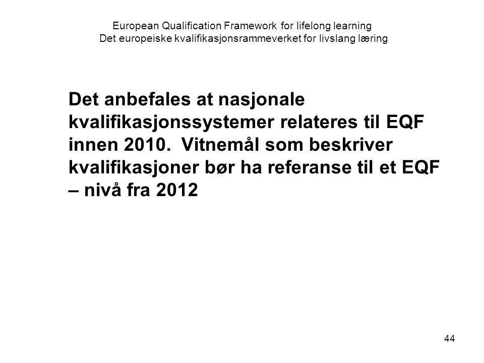 44 European Qualification Framework for lifelong learning Det europeiske kvalifikasjonsrammeverket for livslang læring Det anbefales at nasjonale kvalifikasjonssystemer relateres til EQF innen 2010.