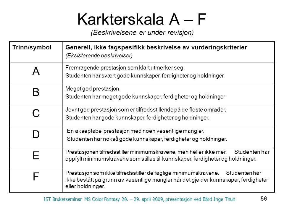 56 Karkterskala A – F (Beskrivelsene er under revisjon) Trinn/symbolGenerell, ikke fagspesifikk beskrivelse av vurderingskriterier (Eksisterende beskrivelser) A Fremragende prestasjon som klart utmerker seg.
