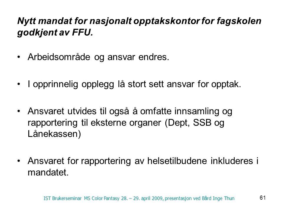 61 Nytt mandat for nasjonalt opptakskontor for fagskolen godkjent av FFU. Arbeidsområde og ansvar endres. I opprinnelig opplegg lå stort sett ansvar f