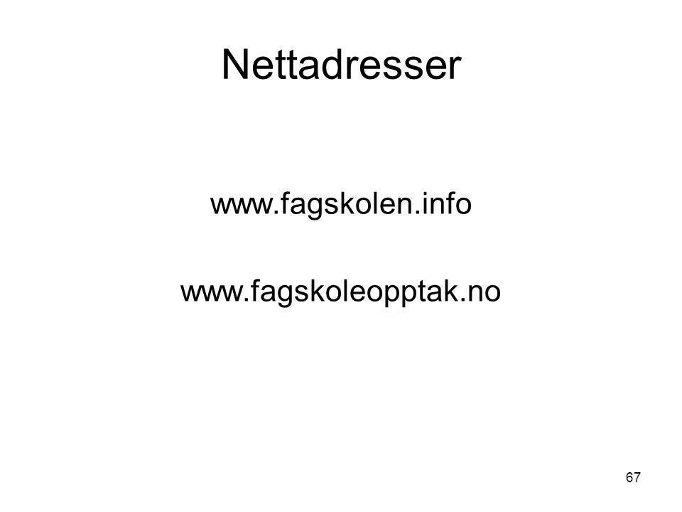 67 Nettadresser www.fagskolen.info www.fagskoleopptak.no