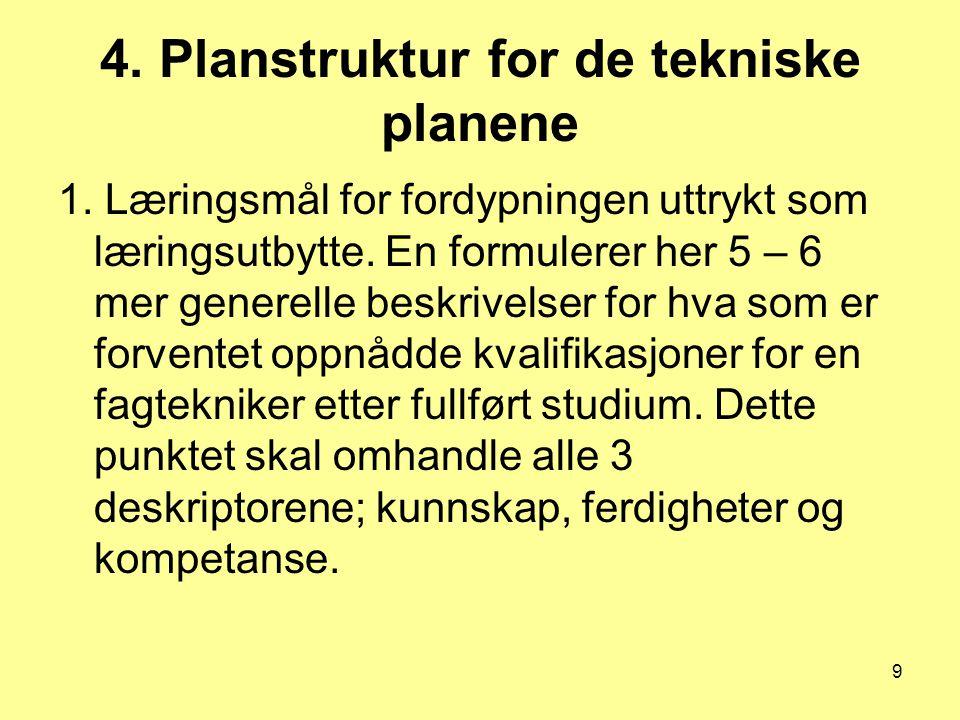 9 4. Planstruktur for de tekniske planene 1. Læringsmål for fordypningen uttrykt som læringsutbytte. En formulerer her 5 – 6 mer generelle beskrivelse