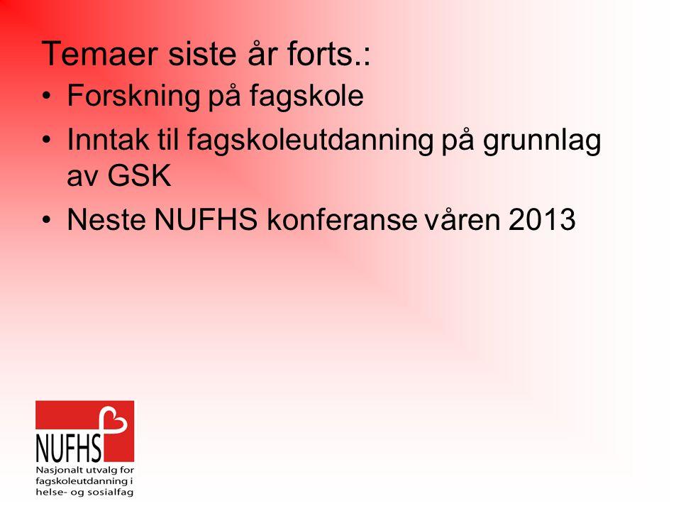 Temaer siste år forts.: Forskning på fagskole Inntak til fagskoleutdanning på grunnlag av GSK Neste NUFHS konferanse våren 2013