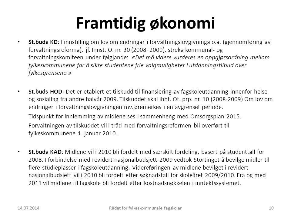 14.07.2014Rådet for fylkeskommunale fagskoler10 Framtidig økonomi St.buds KD: I innstilling om lov om endringar i forvaltningslovgivninga o.a. (gjenno