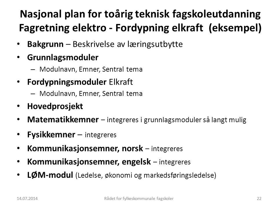 14.07.2014Rådet for fylkeskommunale fagskoler22 Nasjonal plan for toårig teknisk fagskoleutdanning Fagretning elektro - Fordypning elkraft (eksempel)