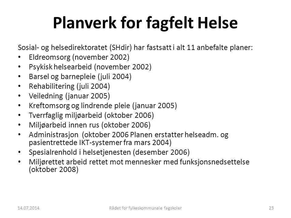 14.07.2014Rådet for fylkeskommunale fagskoler23 Planverk for fagfelt Helse Sosial- og helsedirektoratet (SHdir) har fastsatt i alt 11 anbefalte planer