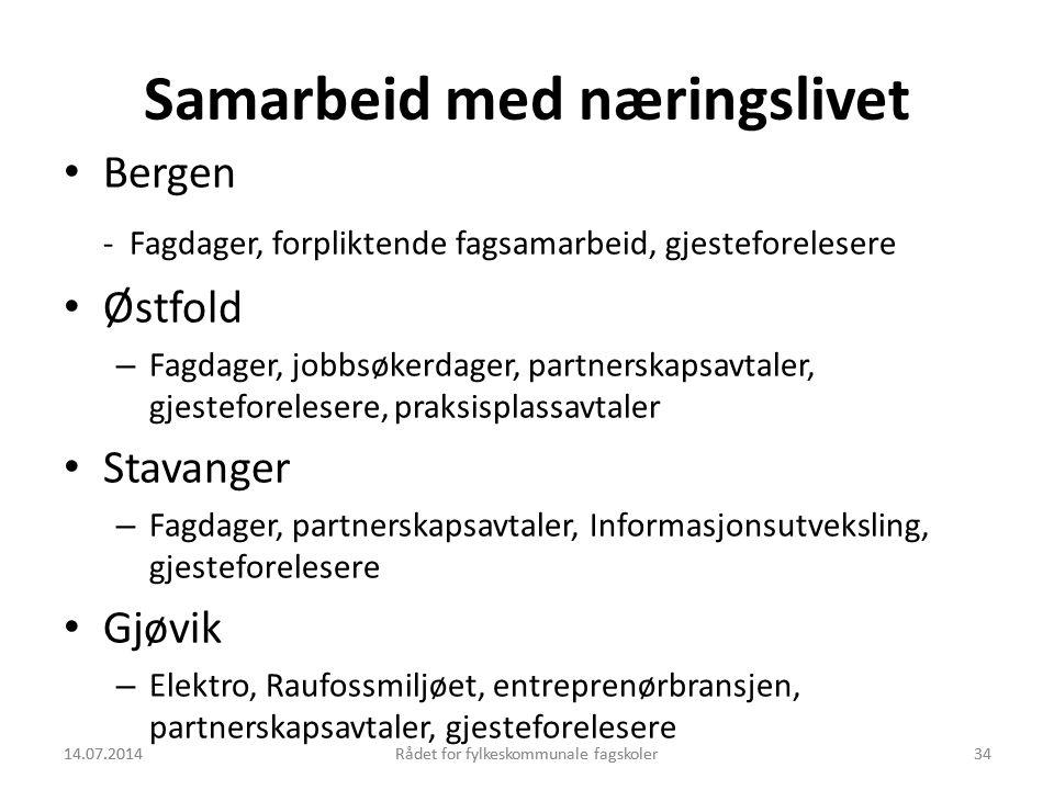 14.07.2014Rådet for fylkeskommunale fagskoler34 Samarbeid med næringslivet Bergen - Fagdager, forpliktende fagsamarbeid, gjesteforelesere Østfold – Fa