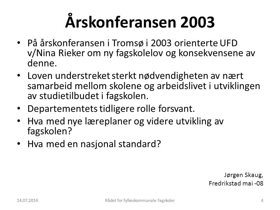 14.07.2014Rådet for fylkeskommunale fagskoler4 Årskonferansen 2003 På årskonferansen i Tromsø i 2003 orienterte UFD v/Nina Rieker om ny fagskolelov og