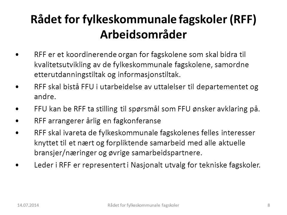 14.07.2014Rådet for fylkeskommunale fagskoler8 Rådet for fylkeskommunale fagskoler (RFF) Arbeidsområder RFF er et koordinerende organ for fagskolene s