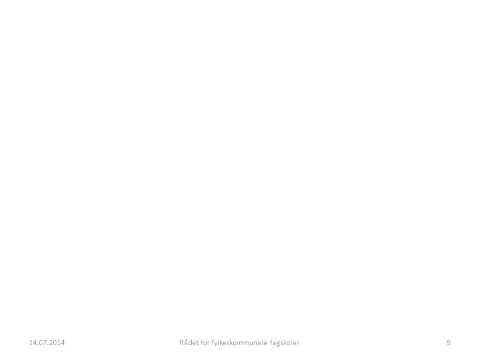 14.07.2014Rådet for fylkeskommunale fagskoler30 Status NKR (EQF)- arbeidet Tre faser: Erfaring, Utvikling, Implementering Pilotskoler er valgt ut: Oslo (BIM), Østfold (Psyk) Bergen (Bygg), Stavanger (Petroleum), og Gjøvik (Elkraft), Tromsø (Nautisk) Arbeidsseminar 25-26.11 i Bergen Førsteutkast primo des-09, ferdig medio jan-10 Utviklingsfasen ut 2010 Implementering på den enkelte skole 14.07.201430Rådet for fylkeskommunale fagskoler
