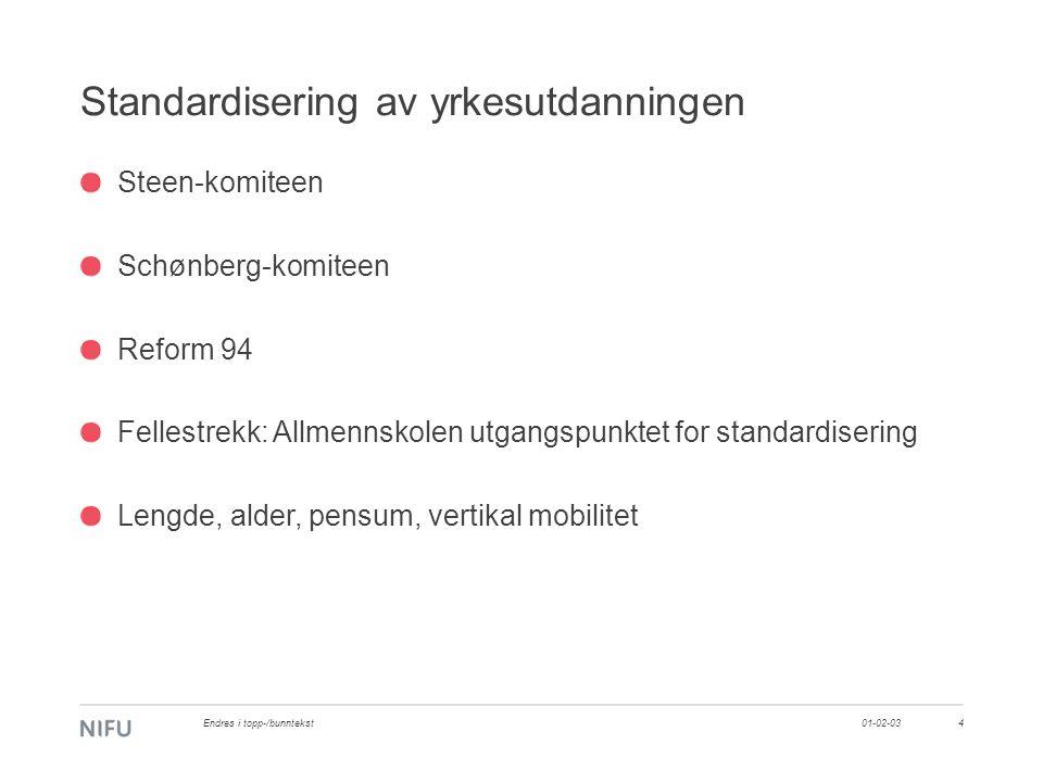 Standardisering av yrkesutdanningen Steen-komiteen Schønberg-komiteen Reform 94 Fellestrekk: Allmennskolen utgangspunktet for standardisering Lengde, alder, pensum, vertikal mobilitet 01-02-03Endres i topp-/bunntekst4