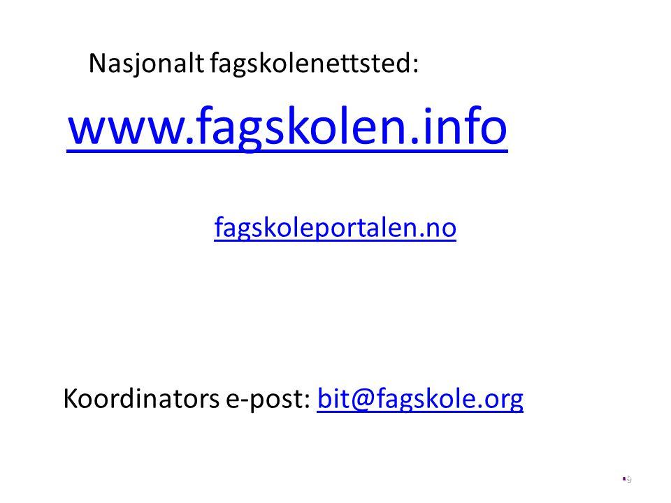 Nasjonalt fagskolenettsted: www.fagskolen.info fagskoleportalen.no Koordinators e-post: bit@fagskole.orgbit@fagskole.org 99