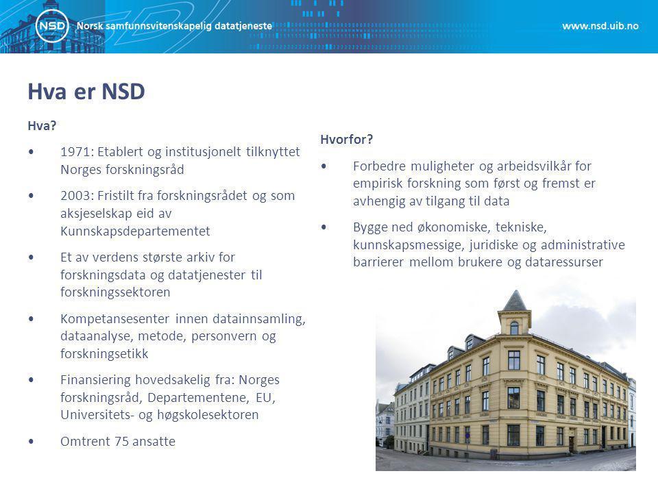 Hva er NSD Hva? 1971: Etablert og institusjonelt tilknyttet Norges forskningsråd 2003: Fristilt fra forskningsrådet og som aksjeselskap eid av Kunnska