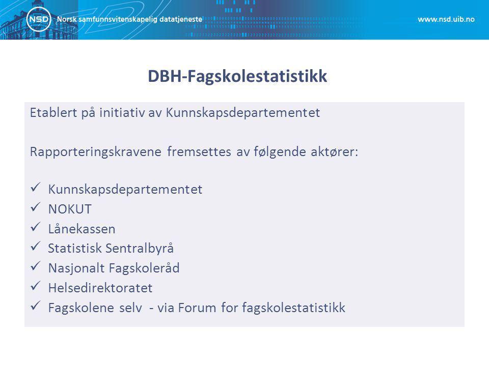 DBH-Fagskolestatistikk Etablert på initiativ av Kunnskapsdepartementet Rapporteringskravene fremsettes av følgende aktører: Kunnskapsdepartementet NOK