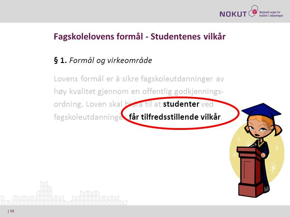 Fagskolelovens formål - Studentenes vilkår § 1.