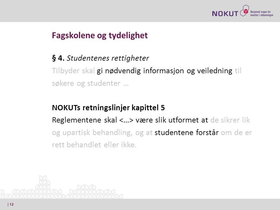 § 4. Studentenes rettigheter Tilbyder skal gi nødvendig informasjon og veiledning til søkere og studenter … NOKUTs retningslinjer kapittel 5 Reglement