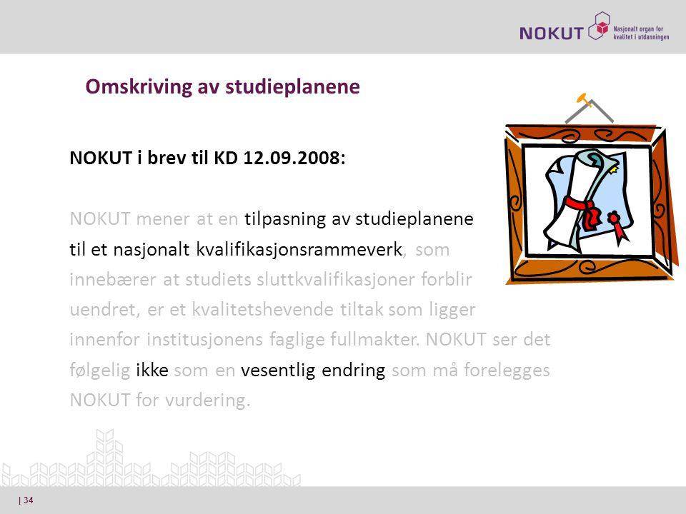 NOKUT i brev til KD 12.09.2008: NOKUT mener at en tilpasning av studieplanene til et nasjonalt kvalifikasjonsrammeverk, som innebærer at studiets sluttkvalifikasjoner forblir uendret, er et kvalitetshevende tiltak som ligger innenfor institusjonens faglige fullmakter.