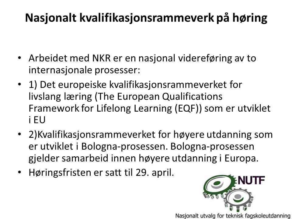 Nasjonalt kvalifikasjonsrammeverk på høring Arbeidet med NKR er en nasjonal videreføring av to internasjonale prosesser: 1) Det europeiske kvalifikasj