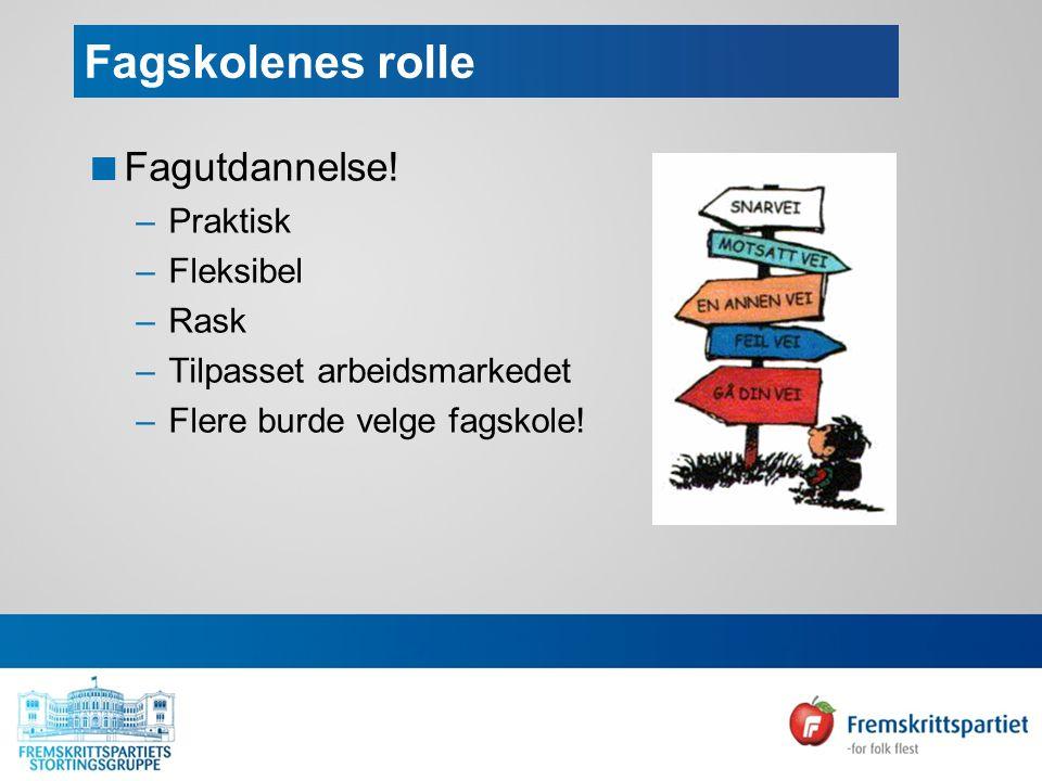 Fagskolenes rolle  Fagutdannelse.