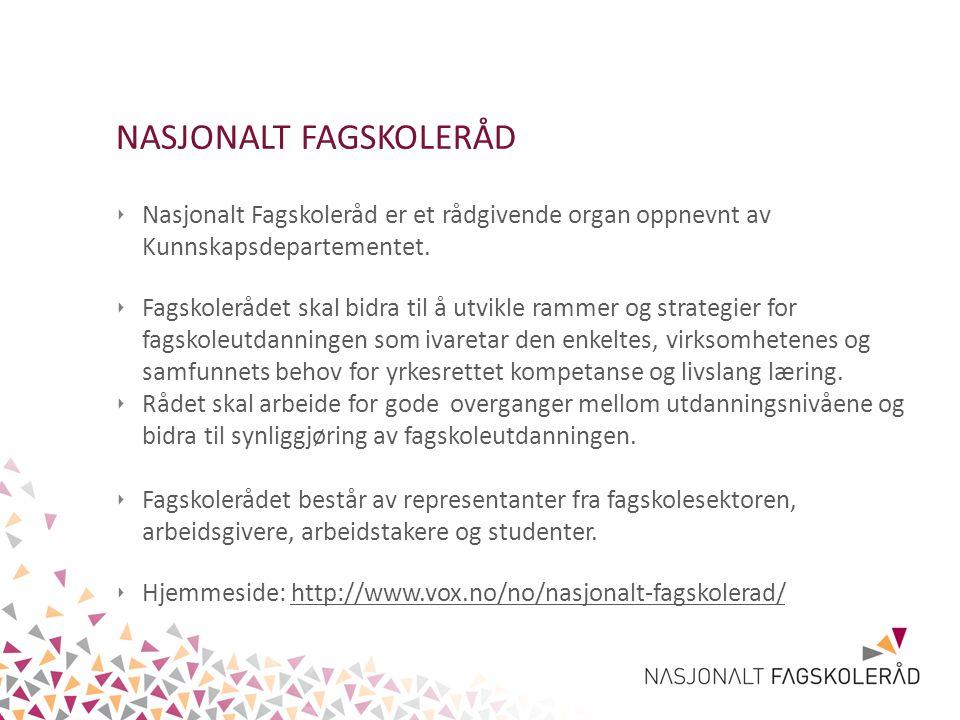 NASJONALT FAGSKOLERÅD ‣ Nasjonalt Fagskoleråd er et rådgivende organ oppnevnt av Kunnskapsdepartementet. ‣ Fagskolerådet skal bidra til å utvikle ramm