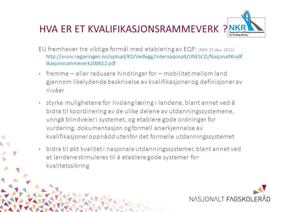 HVA ER ET KVALIFIKASJONSRAMMEVERK ? EU fremhever tre viktige formål med etablering av EQF: (NKR 15.des. 2011) http://www.regjeringen.no/upload/KD/Vedl