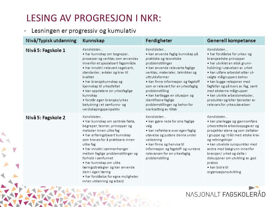 LESING AV PROGRESJON I NKR: ‣ Lesningen er progressiv og kumulativ Nivå/Typisk utdanningKunnskapFerdigheterGenerell kompetanse Nivå 5: Fagskole 1 Kand