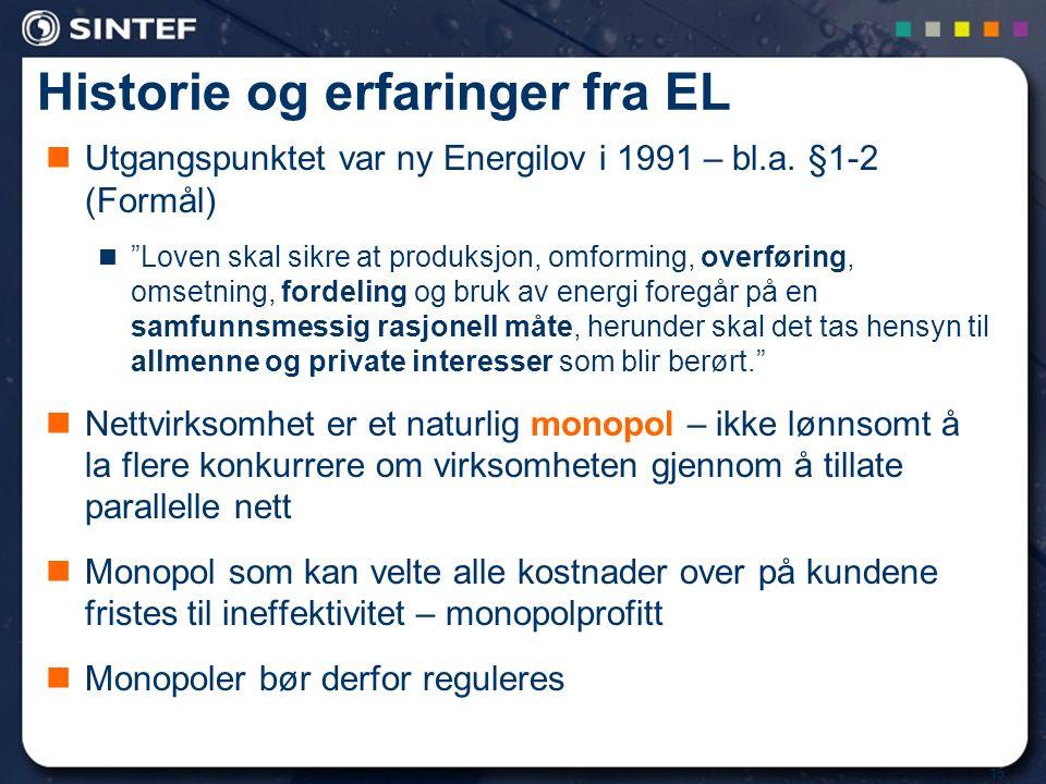 """15 Historie og erfaringer fra EL Utgangspunktet var ny Energilov i 1991 – bl.a. §1-2 (Formål) """"Loven skal sikre at produksjon, omforming, overføring,"""